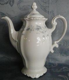 """Johann Haviland Bavaria Blue Garland Coffee Pot~6 Cups White Platinum Trim~8.5""""  #JohannHaviland"""