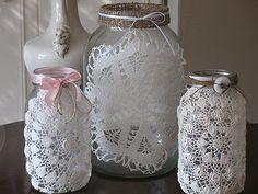 Luminárias de Vidro e Crochê