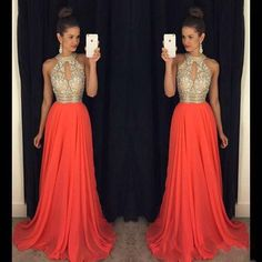 Long chiffon Halter Sparkly Prom Dresses, Most Popular High Quality Prom Dress, Shinning Prom gown, PD0697