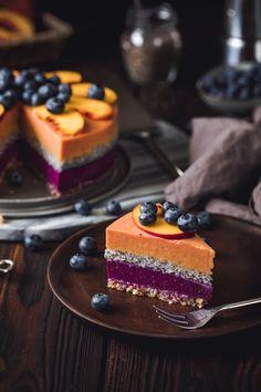 Vegan Peach Blueberry Yoghurt Cake With Chia Seeds - Barbara Just Eggless Desserts, Vegan Desserts, Dessert Recipes, Healthy Meals To Cook, Good Healthy Recipes, Healthy Food, Peach Cheesecake, Breakfast Platter, Raw Cake