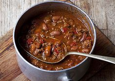 Spicy beef chili with homemade harissa