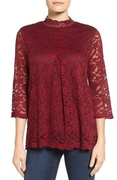 Bobeau Lace Mock Neck Top available at #Nordstrom