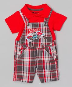 Red Polo & Plaid 'Racer' Overalls - Infant by BOYZ WEAR #zulily #zulilyfinds