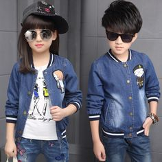 Autumn 2016 Fashion Kids Clothes Boys and Girls Jacket Cartoon Long Sleeve Casual Kids Denim Jackets Coats Boys Outerwear