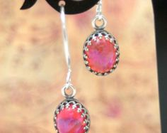 Dragon's Breathe Petite Sterling Silver Earrings Whimsy Mexican Fire Opal Mystical