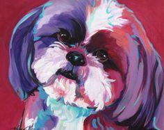 Shih Tzu, del arte Pop, arte perro, regalos, pintura, retrato, perro amantes, perro moderno, varios tamaños y estilos