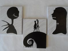 Nightmare Before Christmas Painted Canvas by CollectibleCanvas