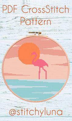 Modern Cross Stitch Pattern Flamingo Pattern Hoop Art Modern Cross Stitch Patterns, Stitching Patterns, Cross Stitching, Cross Stitch Embroidery, Flamingo Pattern, Chart Design, Dmc Floss, Embroidery For Beginners, Pattern Art