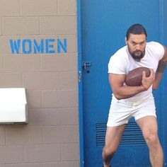 Pin for Later: Jason Momoa Has SO MUCH Fun When He Works Out, It's Ridiculous And maybe even pick up a football once in a while.