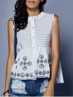 Dulce cuello redondo flojo-Equipada bordado del botón de impresión de las mujeres sin mangas