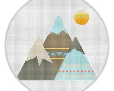 Mountains Cross Stitch Pattern Instant download Kids playroom decor Mountain wall art Tribal nursery Modern cross stitch Boho nursery X179