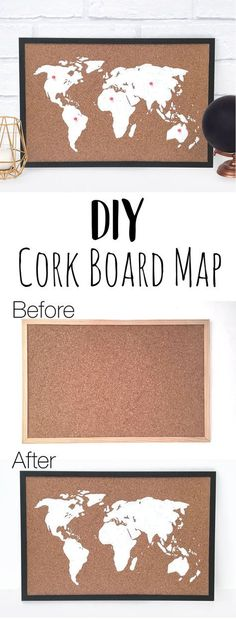This DIY cork board map is a great home decor craft to make. It's a perfect hand. This DIY cork board map is a great home decor craft to make. It's a perfect handmade gift for travellers and adventure lovers. You can also use it as a stylish bulletin Cork Board Map, Cork Map, Cork Boards, Cork Board Painted, Map Crafts, Cork Crafts, Travel Crafts, Easy Home Decor, Handmade Home Decor