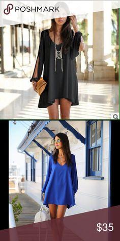 Chiffon Long Sleeve Dress Beautiful Chiffon Long Sleeve Dress. Material is Polyester and, dress has thick enough under lining for no transparency. Dresses Mini