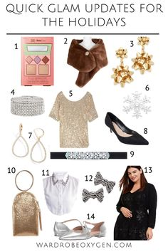 holiday glam for wardrobe staples - update your current closet for the holidays with these simple accessories plus tips on how to update your closet for the holiday season for less Petite Fashion, Plus Size Fashion, Silver Shirt, Metallic Jacket, Fashion Advice, Fashion Ideas, Kitten Heel Pumps, Festival Dress