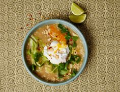 Poached Egg and Congee Rice makes a hearty, vegetarian meal.