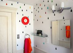 How cute are these painted raindrops on a bathroom wall?