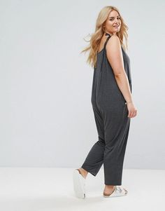 a21a9d4b1fca9 ASOS CURVE Jersey Minimal Jumpsuit with Ties - Gray