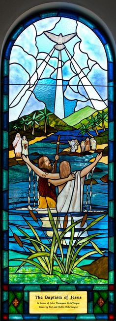 The Baptism of JESUS Stained Glass Church Window by Katglass.com