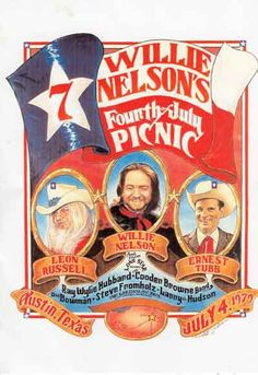 Willie Nelson's Fourth of July Picnic, 1979 with Leon Russell, Ernest Tubb, Ray… Rock Posters, Concert Posters, Festival Posters, Music Posters, Vintage Rock, Vintage Music, Country Bands, Country Music, Austin Music