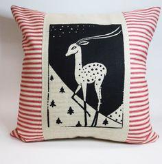 Christmas Deer Screen Print Pillow  Primitive by ecarlateboutique, $29.00
