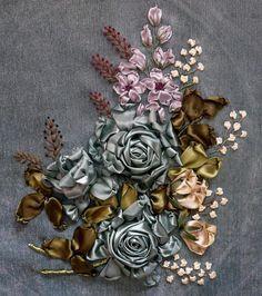 broderie au ruban, couleurs originelles des fleurs