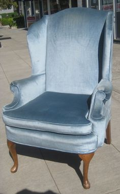 We found one just like this at an antique store and are hoping to convert it to a rocker for the nursery. Blue Wingback Chair, Sofa Chair, Baby E, Blue Wings, Antique Stores, Sweet Memories, Crushed Velvet, Sofa Furniture, Sofas