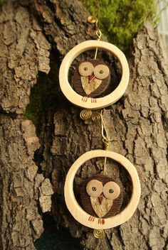 Orecchini Gufo con Cerchio - Owl earrings with circle