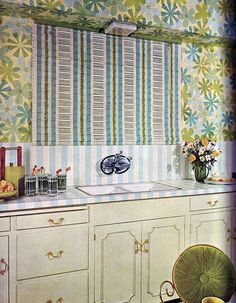 Stripes and Flowers Kitchen - Good Decorating and Home Improvement Published in 1970.