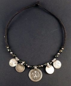 Indian silver old hindu round amulet plaque necklace