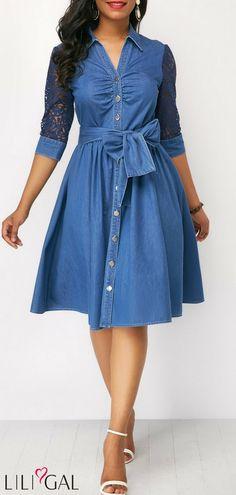 Belted Button Up High Waist Blue Dress #liligal #dresses #womenswear #womensfashion