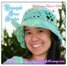 Pineapple Lace Sunhat Angle View | The Summer Elegance Edition | The Crochet Lounge | Free Crochet Sunhat Pattern