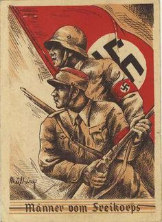 Real used with local provisional cancel. Message is about honoring the fallen and specifically mentions an SS Man. Ww2 Posters, Cool Posters, Military Drawings, Nazi Propaganda, Picture Postcards, Military Art, Illustrations And Posters, World War Two, Wwii