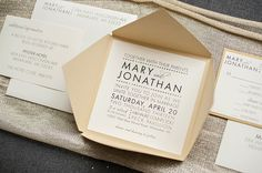 Gold Modern Wedding Invitation  Mary and Jonathan by LamaWorks