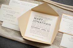 Gold Modern Wedding Invitation  Mary and Jonathan by LamaWorks, $6.90
