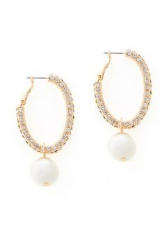 Plus Size Faux Pearl and Pave Hoops | Fashion To Figure