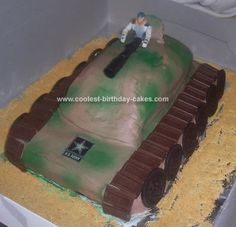 Homemade Army Tank Cake: I made this army tank cake for my nephew's 9th birthday party. I used a regular 9 x 13 cake pan for the bottom and a loaf pan for the top and just cut