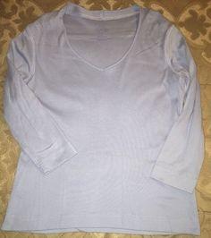 9a7b28fda068c Talbots Size Small Light Blue 3 4 Sleeve V Neck Top 100 Pima Cotton Women S
