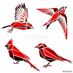 Vector: Set of four red triangle formed birds