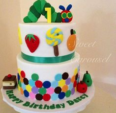 The Very Hungry Caterpillar 1st Birthday Cake by Sweet Carousel, Shellharbour, New South Wales, Australia. You'll find this Cake Appreciation Society Member in our Directory at www.cakeappreciationsociety.com