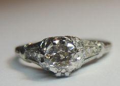 Antique Mine Diamond Engagement Solitaire Ring 18K Art Deco Vintage Filigree  #SolitairewithAccents