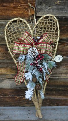 Traditional Christmas! Small Snowshoes with Frosted Pine & Berries, Plaid Bow