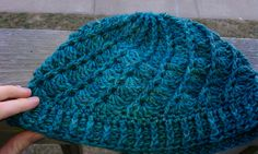 Beautiful one skein crocheted hat. Love the colors of this yarn! (free pattern too)