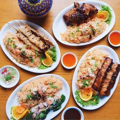 NOW OPEN: Thai BBQ Original Restaurant - Glorietta 4 Franchised from Los Angeles California serving specialties like honey duck chicken and beef sate and mango sticky rice  @thehungrychef # #bookymanila  View its exact location on our app!  Tag your friends who love Thai food