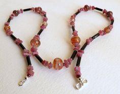 Pink Tourmaline Necklace with Onyx Lampwork Beads by Smokeylady54