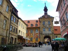 Downtown Bamberg with cafes and bars lining the cobblestone street