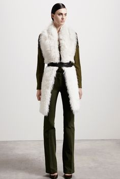 Runway Pick no. 3 from Altuzarra Pre-Fall 2015 Collection • Chika Shirt in Green, Constable Scarf in Shearling #fashion #style