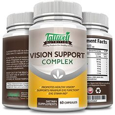 Healthy Vision Support Vitamins w/Lutein, Bilberry, Taurine, Lycopene, Quercetin, Minerals, Maximum Strength Vitamins for Eye Health, 30 Day Complete Supply ** Click on the image for additional details.