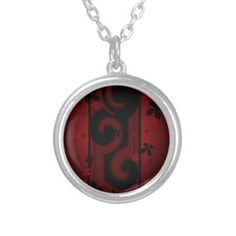Red and Black Swirl with flowers Personalized Necklace