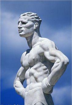 ༻✿༺ ❤️ ༻✿༺ Rome | Statue of a male athlete in the fascist era Stadio dei Marmi, in the Foro Italico sports complex. ༻✿༺ ❤️ ༻✿༺