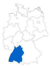 Counties, towns, etc. in Germany!  Federal state Baden-Wuerttemberg on the map of the federal states